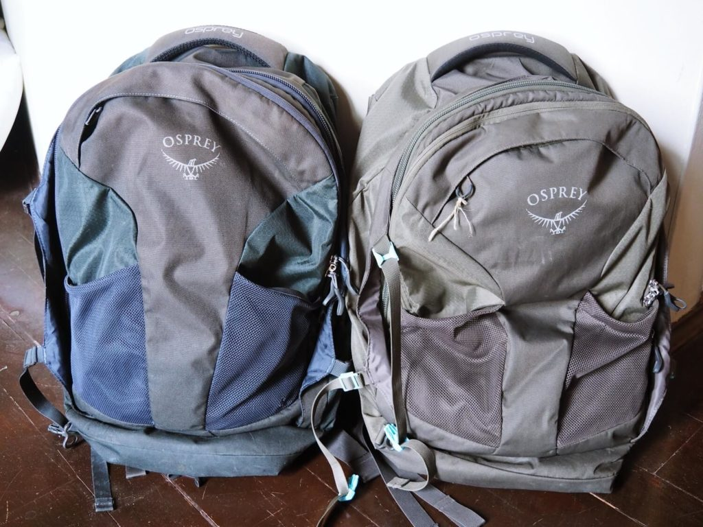 Osprey Fairview and Farpoint 40 carry on backpacks
